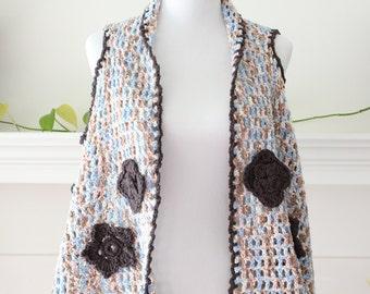 Crochet Blue, Peach, White, Brown Sleeveless Vest/Cardigan