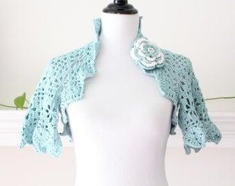 Crocheted Ocean Spray Shrug with Flower