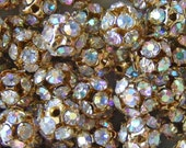 SALE - Shop Closes TODAY - 225 AB Crystal Bead Gold Rhinestone 8mm Round Ball Spacers