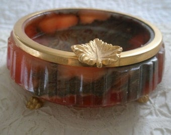 Vintage Alabaster Legged Ashtray Trimed in Brass Made in Italy