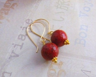 Red Earrings, gifts under 20, Red Gemstone Earrings, Faceted Red Coral Earrings, Gold Filled, Vermeil, Southwest, American West