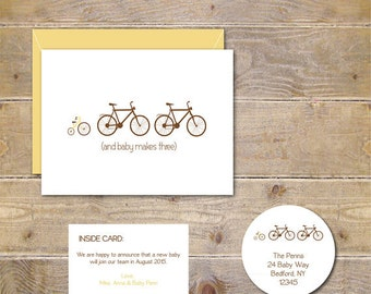 Pregnancy Announcement, Bicycle, Tricycle, Baby Announcements, New Baby, Baby Thank You Cards, Expecting Baby, Birth Announcement