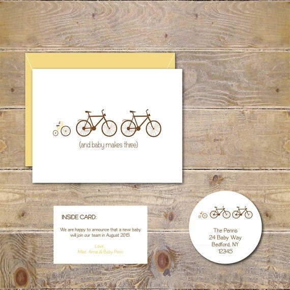 Pregnancy Announcement Bicycle Tricycle Baby Announcements – Expecting a Baby Announcement Cards