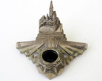 French ancient INKWELL⎮souvenir of LOURDES⎮Art deco brass⎮writer gift⎮Christian Catholic