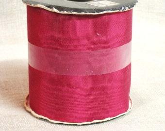 "Moire Ribbon , Cranberry , Gift Ribbon , Wreath Ribbon , Grosgrain Ribbon , 15 Plus yards , 3.5"" Ribbon , Bolt  , Craft Supply , Gift Wrap"