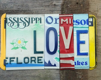 LOVE Amor Amore je t'aime upcycled recycled license plate art sign with lotus tomboyART tomboy yoga OHM PEACE Shalom vrede ZeN