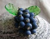 Vintage beaded scarf or dress clip with grape motif circa the 1930's