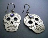 Silver Mexican Day of the Dead Sugar Skull Earrings with Lavender Swarovski Crystals