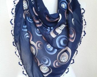 Turkish Scarf , scarf for women , Cotton scarves - Turkish Oya Scarf - triangle scarf