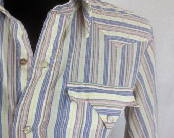 Sassy Vintage 1960's-1970's Striped Cowboy/Cowgirl Shirt -Pearl Snap Rockabilly Western