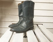 vintage cowboy boots, blue leather booties, womens shoes size 7.5