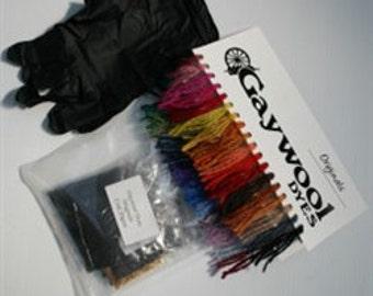 Gaywool Dyes Starter Kit with FREE Ecru Fiber For Dyeing