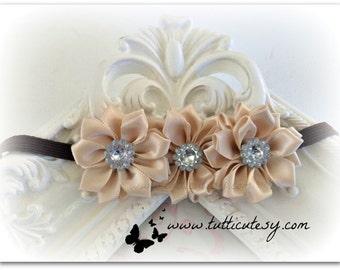 Beige and Brown Flower Headband