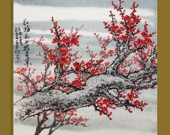 Cherry Blossom  painting chinese watercolour painting original chinese art-cherry blossom tree No.26