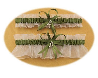 White and Sage Green Wedding Garter with Music Charms, Bridal Garter, Prom Garter  (Your Choice, Single or Set)
