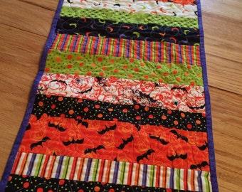 SALE - Halloween Table Runner Topper Quilted -- orange, black, purple, green -- Moda Fabrics Spooktacular