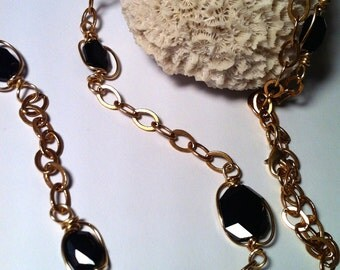Long Chain Necklace, Black Swarovski Crystals with Gold Chain, Wirewrapped Chain Necklace, Lucky Seven by HBMuse