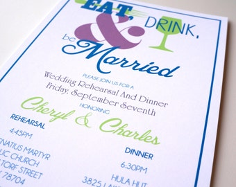 Eat Drink and Be Married - Rehearsal Dinner Invitations DIGITAL DESIGN