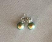 Sterling Silver, Swarovski Iridescent Green Pearl Stud Earrings. 8mm pearls.