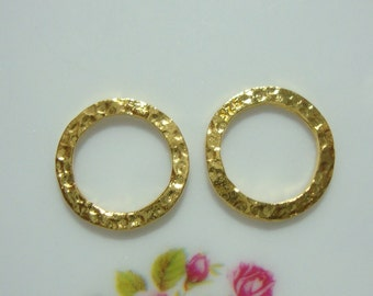 Handmade 24K Gold Vermeil over Sterling Silver Hammered circles Link, 10mm, 2 pcs - PC-0028
