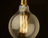 XL 5 Inch Antique Globe Light Bulb - Vintage Industrial Edison Glass Globe - 40W 110V