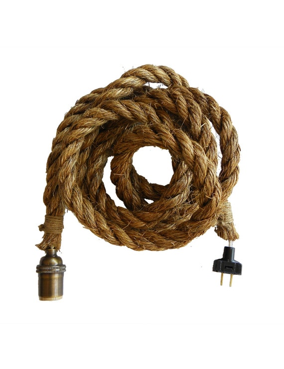 Rope Pendant Light Hardwired Or Plug In Rustic Light