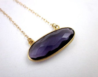Purple & Gold Necklace -- Purple Gemstone Necklace -- Oval Gem Necklace -- Faceted Amethyst Necklace -- Amethyst Oval Necklace -- Sideways