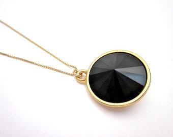 Black & Gold Necklace -- Black Crystal Drop Necklace -- Jet Swarovski Necklace -- Black Rivoli Necklace -- Black Crystal Pendant Necklace