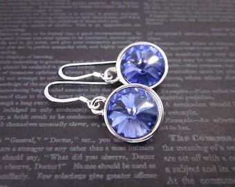 Purple Crystal Drops, Silver & Purple Crystal Earrings, Purple Swarovski Dangles, Women's Purple Dangle Earrings, Tanzanite Crystal Jewelry