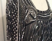 Reserved for VSMB - Sexy Black Silk Sheer 1990s Retro 1970s Multi Size Caftan with Silver and Gold Sequins