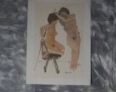 One Model as Two oil pen & ink from Gene Mundell  Original