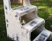 Bed steps in rustic distressed antique white finish four step