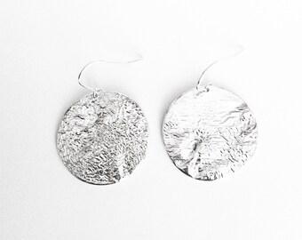 Silver Full Moon Reticulated Earrings - Handmade Circle Disc Round Medium Small Texture Planet Mountain OOAK Women Bark Sterling Ear Hooks