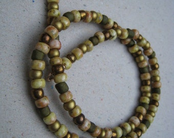 Green and Beige Glass Seed Bead Wrap Bracelet - Beaded Bracelet - Stacking Bracelet - Green Bracelet