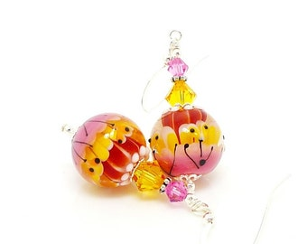 Pink Yellow Earrings, Bright Colorful Earrings, Lampwork Earrings, Glass Earrings, Glass Bead Earrings, Lampwork Jewelry, Glass Art Earrings