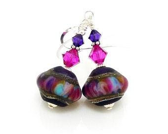 Purple and Fuchsia Earrings, Nugget Earrings, Lampwork Earrings, Glass Earrings, Glass Bead Earrings, Beadwork Earrings, Lampwork Jewelry