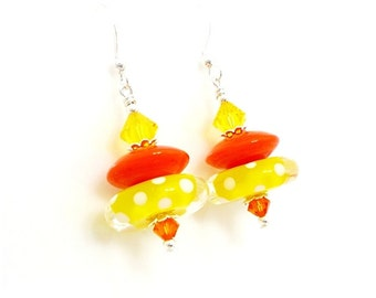 Yellow Earrings, Polka Dot Earrings, Glass Earrings, Lampwork Earrings, Glass Bead Earrings, Unique Earrings, Bright Earrings, Fun Earrings