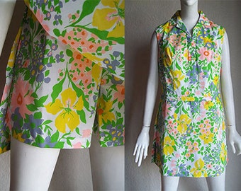 Vintage 70s Park East Swirl Playsuit Scooter Dress Shorts M B36 W32 H37