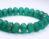 Emerald Green Picasso Czech Glass Beads 6 x 8mm Faceted Rondelle Beads 10 Pcs. RON8-567
