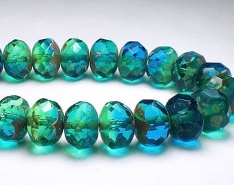 Picasso Czech Glass Beads 10mm x 7mm Faceted Capri Blue and Green Rondelles 10 RON10-832