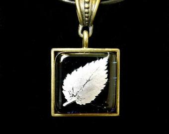 Fused Glass Antiqued Brass Leaf Pendant