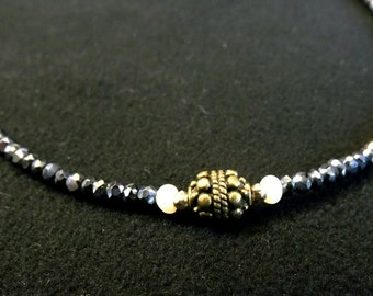Black Spinel, Pearl and Brass Bead Necklace