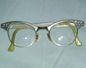 Reserved for Laura - 1950s 1960s Cat Eye Eyeglasses with Embellishments