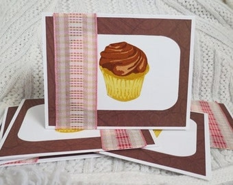 Chocolate Cupcake Notecards Handmade Set of Six Brown and Pink CLEARANCE