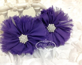 "2 pieces 3"" Adeila PURPLE Shabby Frayed  Chiffon Ruffle Flowers with Rhinestone,applique , hair accessories"