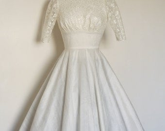 Ivory Silk Dupion Lace Wedding Dress with Circle Skirt - Made by Dig For Victory