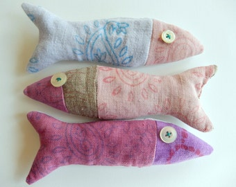 Lavender Sachet, Hand Printed Linen Fish