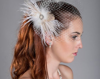 Temporary sale! Birdcage veil plus separate Champaign feather fascinator