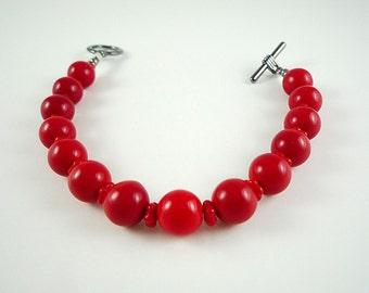 Red Bracelet Bright Red Bracelet Red Czech Glass Bracelet Bright Red Beaded Bracelet Red Gun Metal Bracelet Red Bracelet Beaded