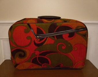 Vintage 1960's  A.D. Sutton & Sons Corduroy Suitcase